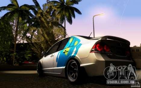 Honda Civic FD BlueKun para GTA San Andreas traseira esquerda vista