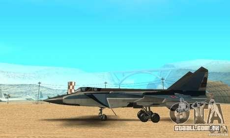 MiG-31 Foxhound para GTA San Andreas traseira esquerda vista