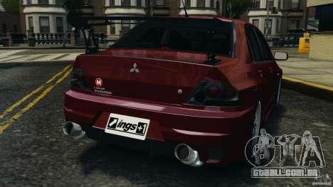 Mitsubishi Lancer Evolution 8 para GTA 4 traseira esquerda vista