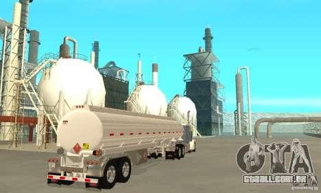 Peterbilt 379 Custom And Tanker Trailer para GTA San Andreas traseira esquerda vista