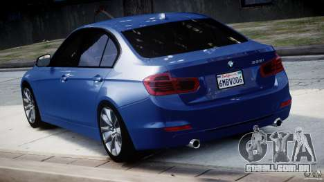 BMW 335i E30 2012 Sport Line v1.0 para GTA 4 traseira esquerda vista