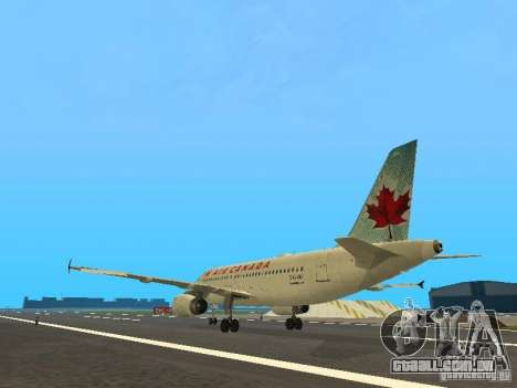 Airbus A319 Air Canada para GTA San Andreas traseira esquerda vista
