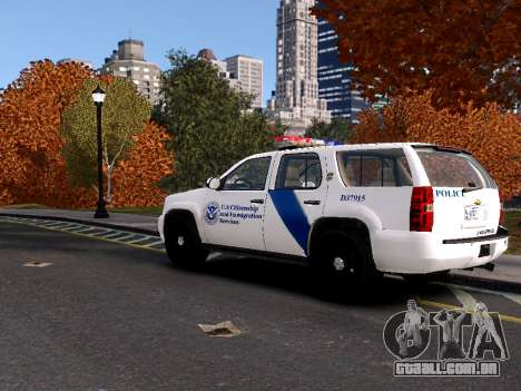 Chevrolet Tahoe Homeland Security para GTA 4 traseira esquerda vista