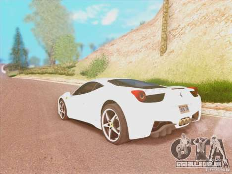 Ferrari 458 2010 para GTA San Andreas esquerda vista
