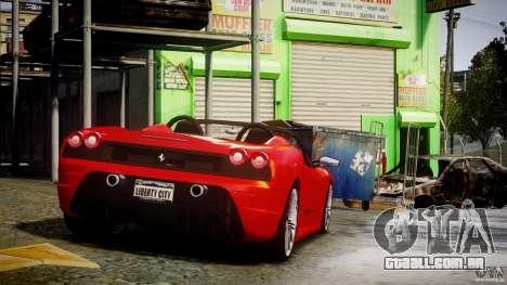 Ferrari F430 Scuderia Spider para GTA 4 vista superior
