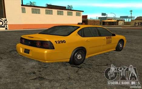 Chevrolet Impala Taxi 2003 para GTA San Andreas esquerda vista