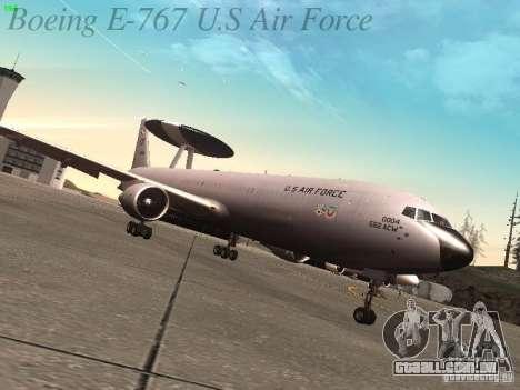 Boeing E-767 U.S Air Force para GTA San Andreas traseira esquerda vista