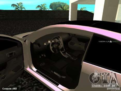 Toyota Scion para GTA San Andreas vista interior