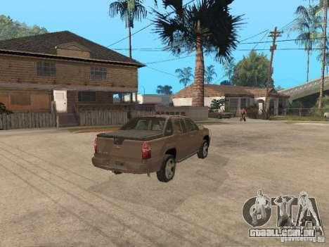 Chevrolet Avalanche para GTA San Andreas traseira esquerda vista