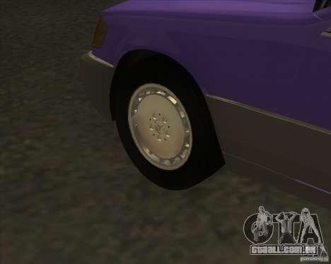 Mercedes Benz 400 SE W140 (Wheels style 3) para GTA San Andreas vista traseira