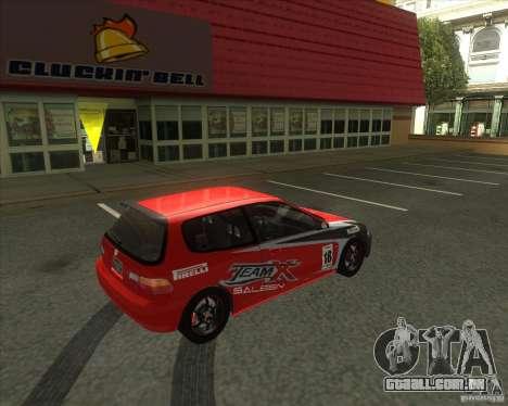 Honda Civic EG6 para GTA San Andreas vista traseira