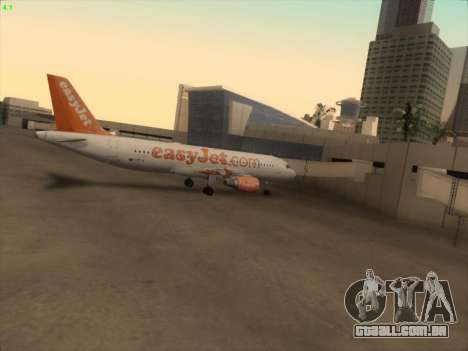 Airbus A320-214 EasyJet para GTA San Andreas vista inferior