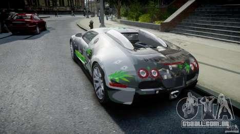 Bugatti Veyron 16.4 v1.0 new skin para GTA 4 traseira esquerda vista