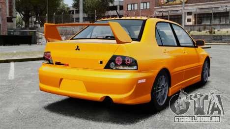 Mitsubishi Lancer Evolution IX MR para GTA 4 traseira esquerda vista