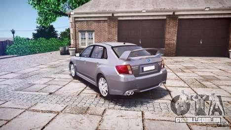 Subaru Impreza WRX 2011 para GTA 4 traseira esquerda vista
