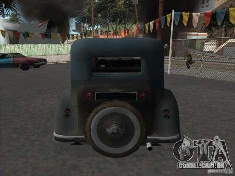 O veículo da segunda guerra mundial para GTA San Andreas traseira esquerda vista