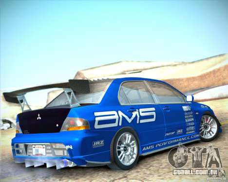 Mitsubishi Lancer Evolution IX Tunable para GTA San Andreas esquerda vista