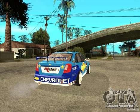 Chevrolet Lacetti WTCC para GTA San Andreas traseira esquerda vista