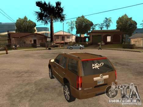 Cadillac Escalade para GTA San Andreas traseira esquerda vista