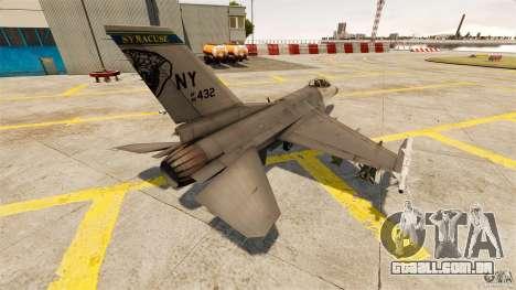 F-16C Fighting Falcon para GTA 4 traseira esquerda vista