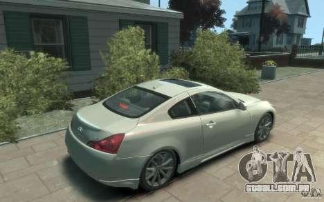 Infiniti G37 S para GTA 4 vista direita