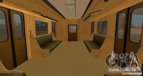 Metro tipo OURIÇO para GTA San Andreas vista interior