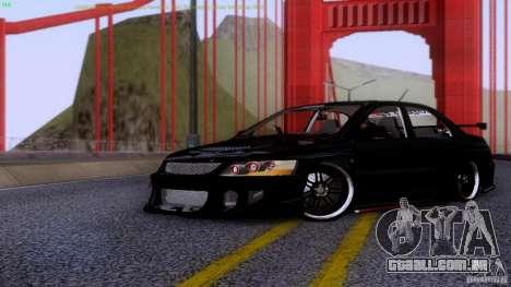 Mitsubishi Lancer Evolution 8 Drift para GTA San Andreas esquerda vista