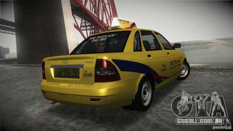 LADA Priora 2170 táxi TMK Afterburner para GTA San Andreas traseira esquerda vista