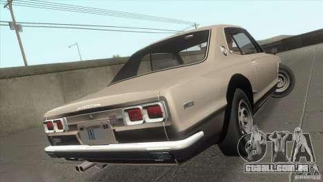 Nissan Skyline 2000 GT-R Coupe para GTA San Andreas vista inferior
