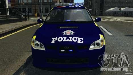 Subaru Impreza British ANPR [ELS] para GTA 4 vista superior