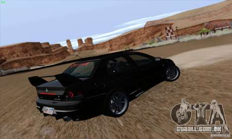 Mitsubishi Lancer EVO VIII BlackDevil para GTA San Andreas vista traseira