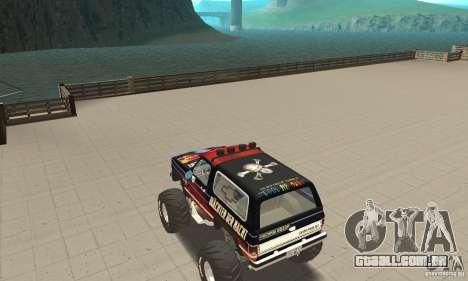 Chevrolet Blazer K5 Monster Skin 5 para GTA San Andreas traseira esquerda vista