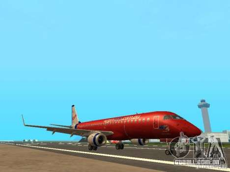 Embraer ERJ 190 Virgin Blue para GTA San Andreas esquerda vista