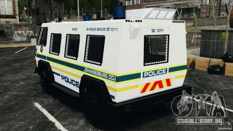 RG-12 Nyala - South African Police Service para GTA 4 traseira esquerda vista
