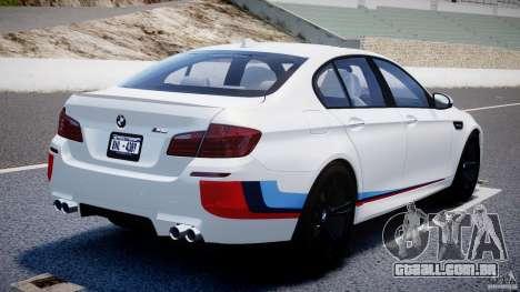 BMW M5 F10 2012 M Stripes para GTA 4 traseira esquerda vista