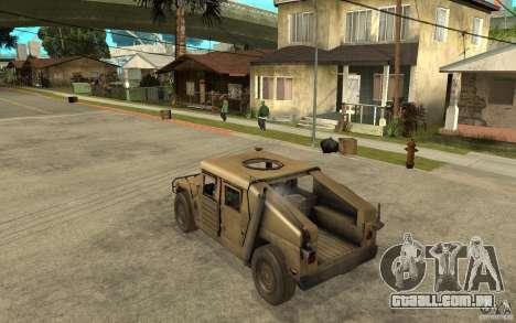 Hummer H1 War Edition para GTA San Andreas traseira esquerda vista