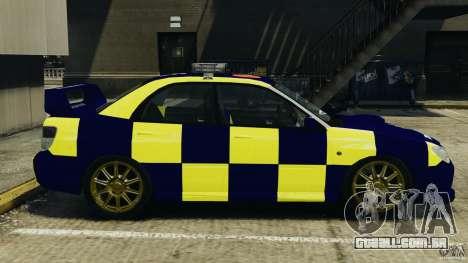 Subaru Impreza British ANPR [ELS] para GTA 4 esquerda vista