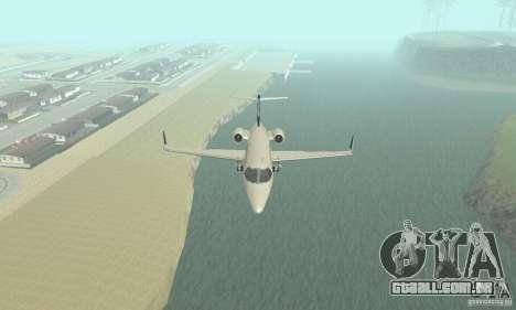 Bombardier Leardjet 45XR para GTA San Andreas vista interior