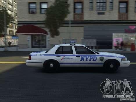 Ford Crown Victoria NYPD 2012 para GTA 4 vista de volta