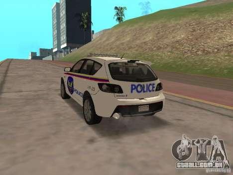 Mazda 3 Police para GTA San Andreas esquerda vista