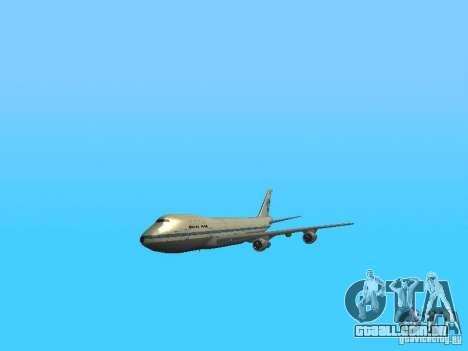 Boeing 747-100 Pan American Airways para GTA San Andreas vista interior