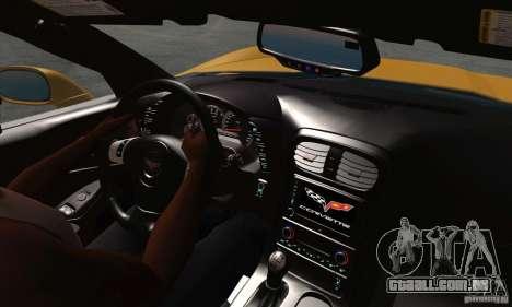 Chevrolet Corvette Grand Sport 2010 para GTA San Andreas vista interior