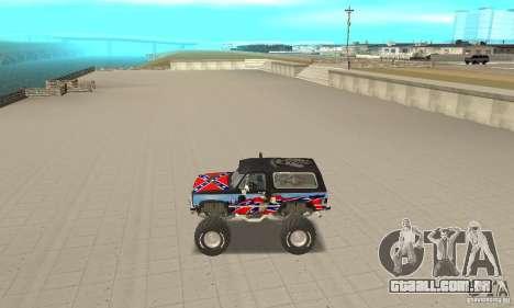 Chevrolet Blazer K5 Monster Skin 1 para GTA San Andreas esquerda vista
