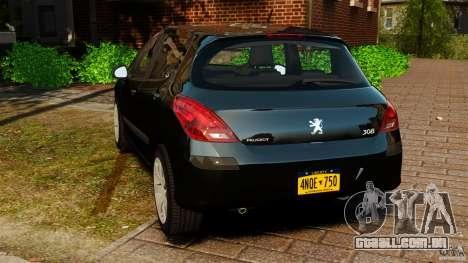 Peugeot 308 2007 para GTA 4 traseira esquerda vista