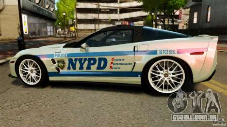 Chevrolet Corvette ZR1 Police para GTA 4 esquerda vista