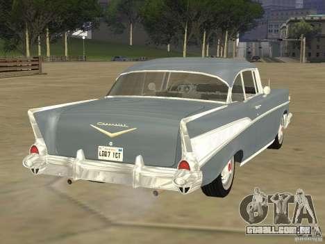 Chevrolet Bel Air 1957 para GTA San Andreas traseira esquerda vista