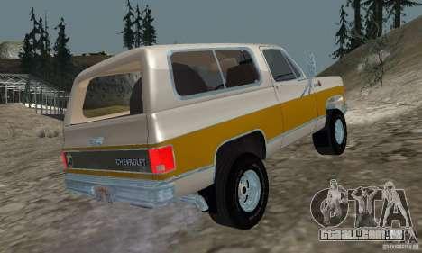 Chevrolet Blazer 1979 para GTA San Andreas esquerda vista