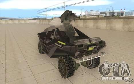 Halo Warthog para GTA San Andreas traseira esquerda vista