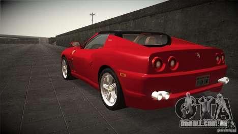 Ferrari 575 Superamerica v2.0 para GTA San Andreas traseira esquerda vista