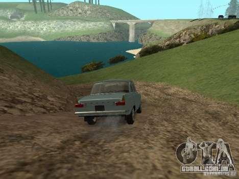 IZH 412 Moskvich para GTA San Andreas vista interior